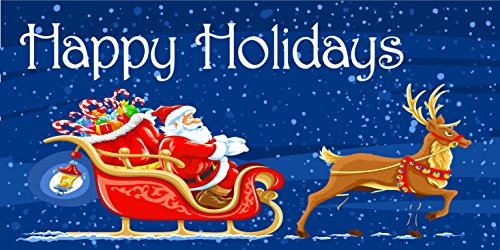 Pre-Printed Happy Holidays Banner - Santa Sleigh (10' x 5') by Reliable Banner Sign Supply & Printing