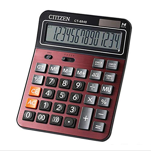 Sdcvopl Handheld Calculator 14 Digit Large Display Calculator Solar Battery LCD Display Office Calculator Electronic Desktop Calculator Red Color Business - Battery Lcd Display 14 Digit