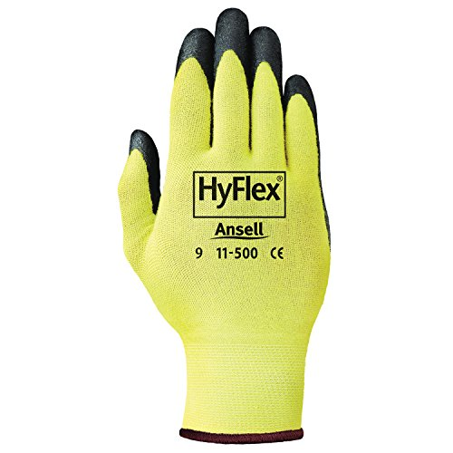 Ansell Hyflex Cr Glove - Ansell 11-500-8 HyFlex CR Gloves, Size 8, Yellow/Black (Pack of 12)