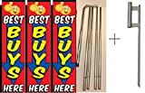 Best Buys Here Giant Boomer Rectangle Flag ''3 ft x 12 ft'' Kit With Pole and Ground Spike- Pack of 3