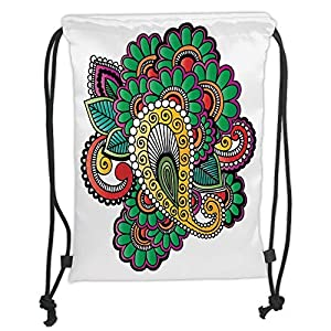 Henna,Vivid Colored Floral Arrangement in Abstract Fashion Flowers Petals Swirls Curves Decorative,Multicolor Soft Satin,5 Liter Capacity,Adjustable Strin 84