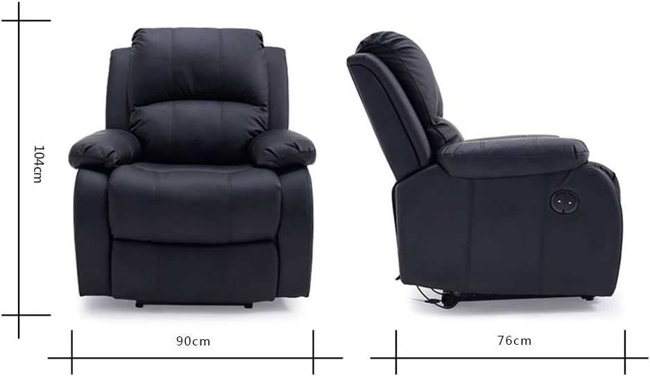 Panana Eletric Recliner Chairs Reclining Armchair Faux Leather Single Sofa Reclining Chair for Living Room Upholstered Wing Back Lounge Chair Brown