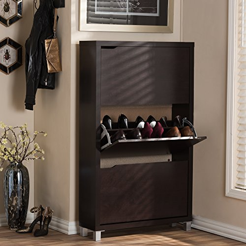 Baxton Studio Simms Modern Shoe Cabinet Dark Brown Buy
