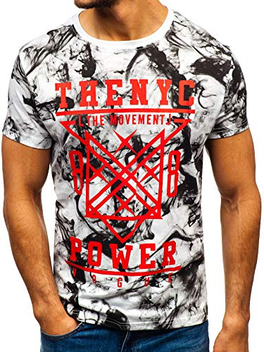 Rond Courtes Homme 10869 Mode Blanc T Imprimé Col Bolf shirt 3c3 Ombre – Manches gBwRUqz