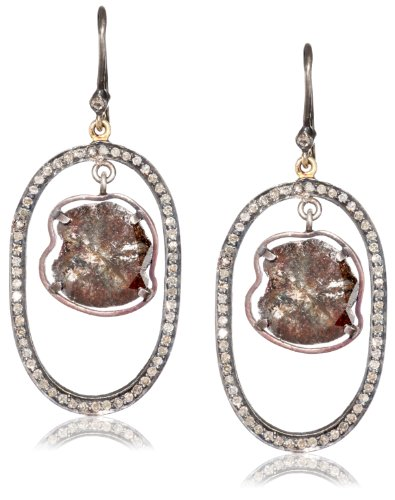 Jordan Alexander Pave Loop with Diamond Slice on Diamond Ear Wire Earrings