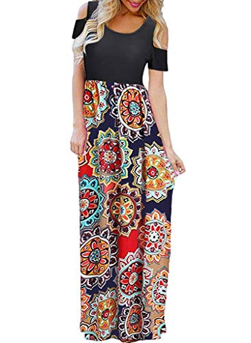 Kancystore Women's Bohemian Cold Shoulder Sundresses Casual Long Beach Dress (Orange_S)