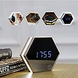 PowerLead Portable Mirror Alarm Clock Night Light Rechargeable Powered Digital Alarm Clock Led Table Lamp Travel Alarm Clock
