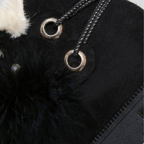 HSXZ Zapatos de Mujer Otoño Invierno gamuza PU Confort botas botas de nieve talón puntera redonda plana Mid-Calf botas para Casual Negro Camel Black