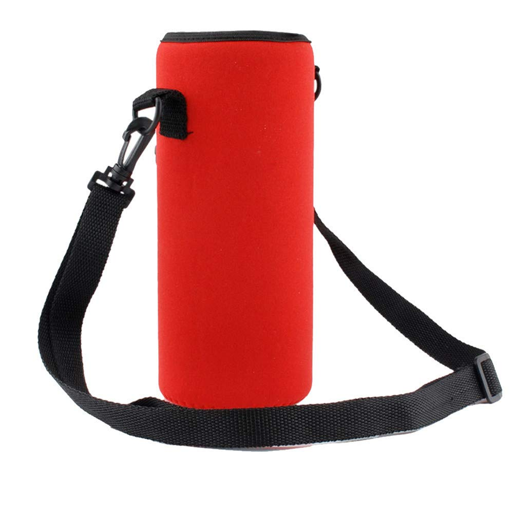 CHLZYD 1000ML Water Bottle Carrier Insulated Cover Bag Holder Strap Pouch Outdoor (red)