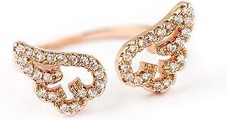 Lywjyb Birdgot Women Jewelry Rose Gold Angel Wing White CZ Rings Adjustable Open Band Ring for Girls Women
