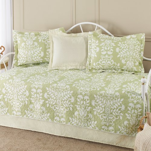 Laura Ashley 5-Piece Cotton Daybed/Quilt Twin Set, Green (Twin Size Daybed Comforter Sets)