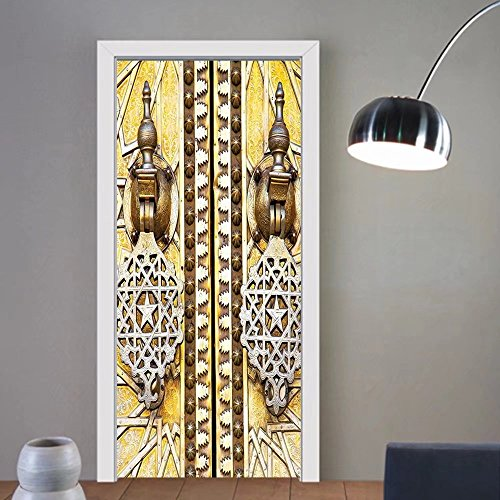 Gzhihine custom made 3d door stickers Moroccan Decor Authentic Oriental Motif with Vintage Byzantine Style Tile Effects Artwork Mustard Royal Blue For Room Decor - Authentic Glasses 2004