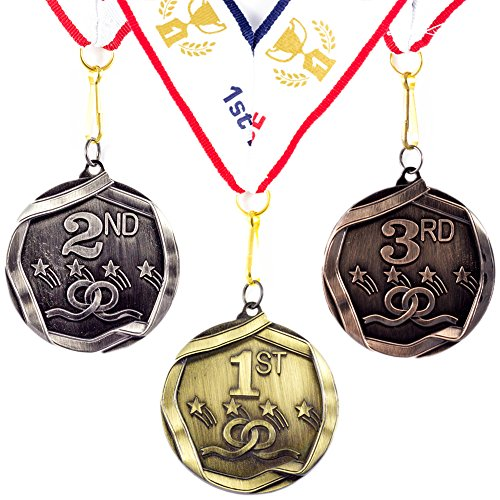 Shooting Star Trophy Award - All Quality 1st 2nd 3rd Place Shooting Stars Award Medals - 3 Piece Set (Gold, Silver, Bronze) Includes Ribbon