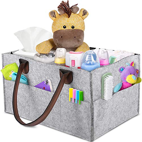 Baby Diaper Caddy - Nursery Caddy Organizer Basket | Portable Diaper Caddy with Changing Pad | Car Travel Bag Storage Bin | Newborn Registry Must Haves for Toys, Burp Cloths, Pacifiers, Creams, Wipes by FYLINA