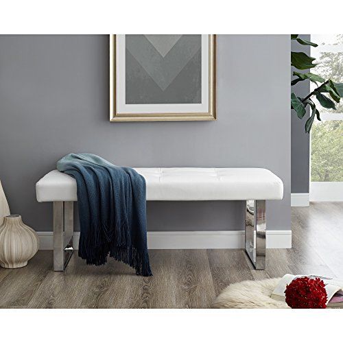 Oliver White PU Leather Bench - Stainless Steel Legs | Tufted | Living-room, Entryway, Bedroom | Inspired Home