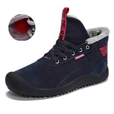 d8223aa5d MARITONY Winter Boots Ankle for Men, Snow Boots Anti-Slip Short Booties  Fluffy Sneakers