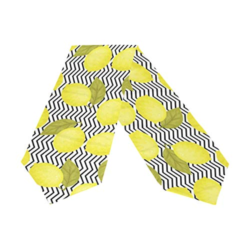 WIHVE Long Table Runners 13 x 70 Inch, Bright Yellow Lemons with Leaves Black and White Chevron Background Rectangle Polyester Double Sided Table Cover for Kitchen Dining Wedding Party Holiday Decor ()