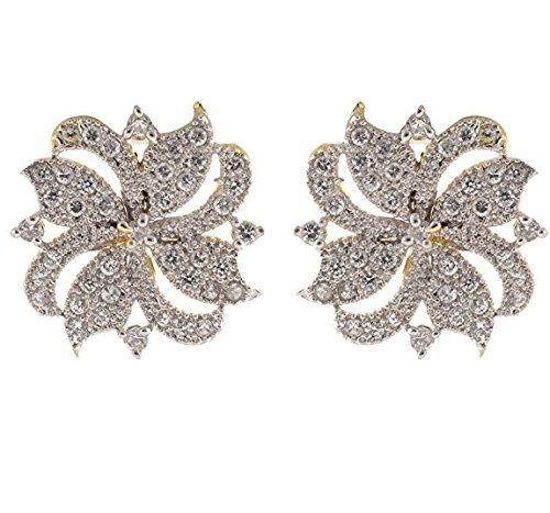 19c653020 Buy KAAYRA American Diamond Gold Plated Tops Earring For Women / Girls  Online at Low Prices in India | Amazon Jewellery Store - Amazon.in