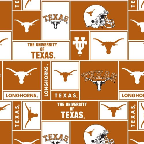(College University of Texas Longhorns 012 Print Fleece Fabric By the Yard)