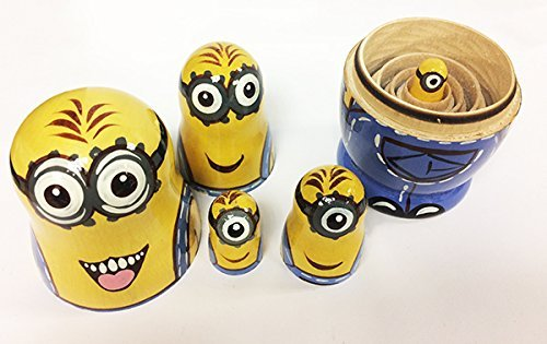 Minions Nesting Dolls Big Matryoshka Wooden. Handmade Despicable Me Cartoon Characters Hand Painted Wooden Toy for Kids, 7 inches, 5 pcs