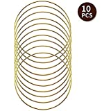 SUNTQ Macrame Hoops Ring for Dream Catcher Metal Crafts Round Brass Plated 4inch(Gold,Pack of 10)
