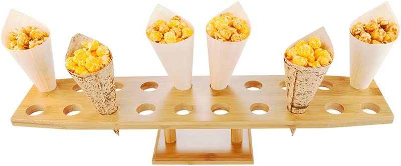 22.5-inch Oblong Food Cone and Sushi Hand Roll Display Stand: Perfect for Restaurants, Catered Events, and Buffets - Holds 20 Cones - Made from Organic Bamboo - 1ct Box - Restaurantware