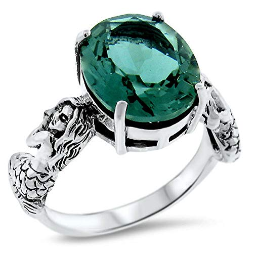 (Mermaid Ring 925 Sterling Silver Green SIM Emerald Victorian Style Size 10 KN-299)