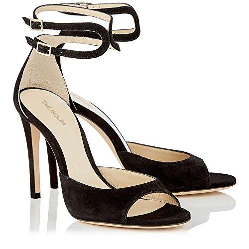 Noche Large Black De Peep Club Toe Strappy Mujer Heel Zapatos High Night Negro Moda Banquete qn0dX6gzw
