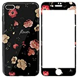 ZXK Co Flower TPU & PC Hard Case Cover with 9H Hardness Screen Protector kompatibel für iphone7/8S PLUS