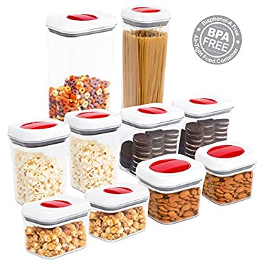 Internet's Best Spin Lock Airtight Canisters | Set of 10 | Stacking Food Storage Twist Lock Sugar Pasta Flour Rice Nuts (Set of 10)