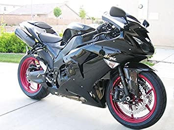 Amazon.com: Gloss Matte Black Injection Fairing for 2006 ...