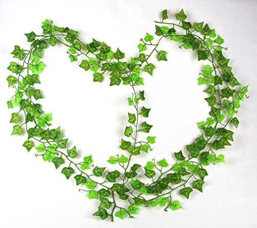 RayLineDo 7.87ft Artificial Boston ivy Green Vine Leaf Garland Plants Fake Foliage Flowers Decoration -