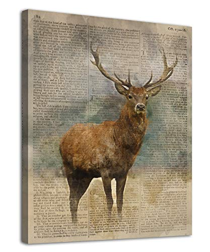 """Deer Canvas Wall Art Modern Vintage Animal Pictures Deer with Big Antlers Canvas Artwork Contemporary Wall Art for Home Decor Bedroom Living Room Decoration Framed Ready to Hang 12"""" x 16"""""""