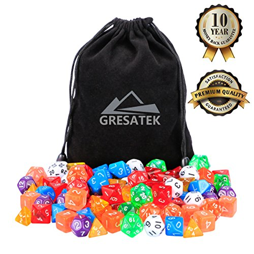 Polyhedral Dice Pack of 104 Dices in Multiple Colors | At Least 17 Complete Sets | 4, 6, 8, 10, 12, 20 Sided and Percentile Dice Included |At Least 7 Colors| Large Durable Velvet Included (Felt Dice Bag)