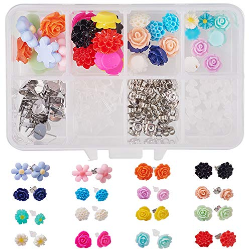 SUNNYCLUE 1 Box DIY 16 Pair Mixed Flower Theme Fatback Cabochon Stud Earrings Rings Making Kit Jewelry Making Arts Craft Supplies for Adults