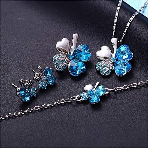 46118e9ea AILUOR Four Leaf Clovers Jewelry Set, Fashion Austrian Crystal Lucky Four  Leaf Clover Necklace Bracelet