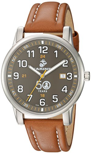 USMC Wrist Armor Men's 'Franklin Mint' Swiss Quartz Stainless Steel and Leather Casual Watch, Color:Brown (Model: 37FM0100201A) -  H. Best, Ltd.