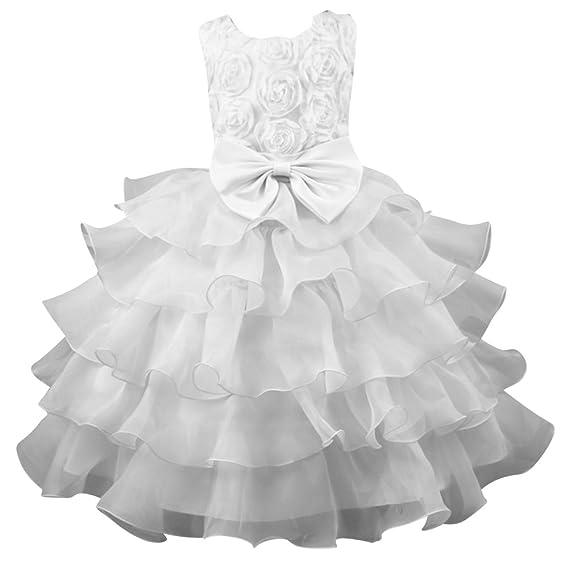 Qitun Bambina Principessa Vestito Cerimonia Bowknot Floreale Abito Per  Damigella Matrimonio Compleanno Festa Carnevale Natale Regalo d4c71948fc1