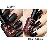 Long Lasting Nail Polish Gellen Matte Top Coat and High Gloss Top Coat Gel Nail Polish Set, No Wipe Non Cleansing Long Lasting, (8ml Each, 2 bottles)