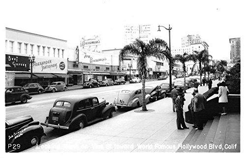 Hollywood Blvd California Vine Street Scene Real Photo Antique Postcard - California Blvd Hollywood