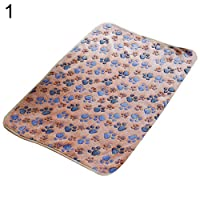 guohanfsh Comfortable Pet Mat Paw Print Cat Dog Puppy Fleece Winter Warm Soft Blanket Bed Cushion Brown 60cm40cm