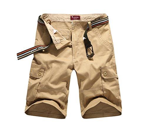 - CANASOUR Man Khaki Multi Pockets Jogger Capri Cargo Shorts (US Size 44, Khaki)