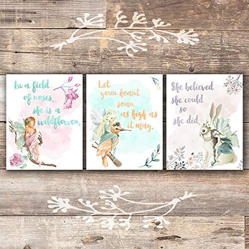 Girls Room Decor Fairy Art Prints (Set of 3) - Unframed - 8x10s | Inspirational Art