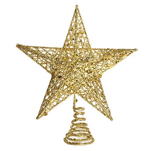 U_star 10 inch Star Christmas Tree Topper Golden Five-Pointed Star Christmas Tree Decoration Christmas Sparkling Golden Star Tree Topper Christmas
