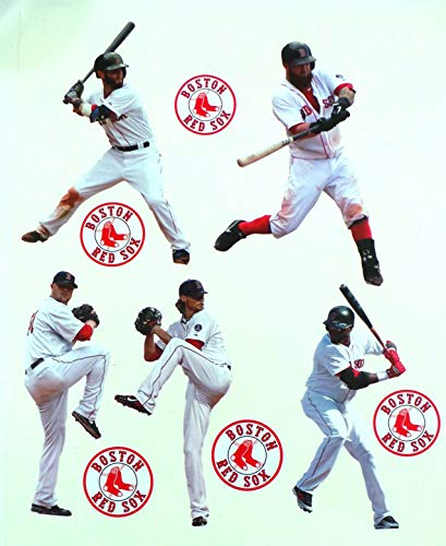 FATHEAD Boston Red Sox Mini Team Set - 5 Players, 5 Red Sox Logo Official MLB Vinyl Wall Graphics - Each Player Graphic 7