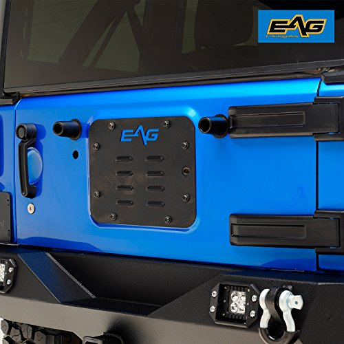 - EAG Tailgate Vent-Plate Cover/Spare Tire Carrier Delete Fit for 07-18 Jeep Wrangler JK