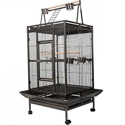 - Giantex Bird Cage Large Play Top Parrot Finch Cage Macaw Cockatoo Pet Supplies, Black