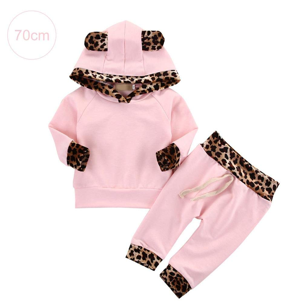 2PCS Cotton Cute Newborn Baby Girls' Pink Leopard Print Hoodie T-Shirt Top + Pants Outfits Clothes Set DZSJ