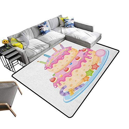 - Kids Birthday Custom Pattern Floor mat Pastel Colored Birthday Party Cake with Candles and Candies Celebration Image 78