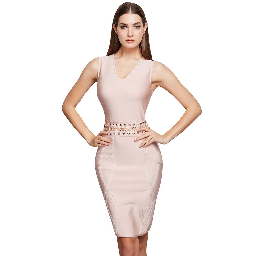 Lovelychica Women's Dress Sexy Elegant Hollow Sleeveless Zipper Slim Bodycon Cocktail Party Dress Pink